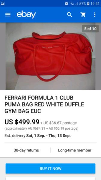 Authentic ferrari travel bag (made in italy)  3d490a2e9b9f6