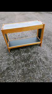 Hallway side sofa end table with glass top