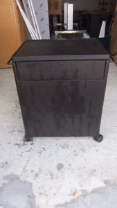 black rolling file cabinet with sliding top table