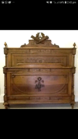 Gorgeous French Henri II Antique Walnut Double Bed