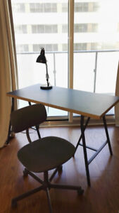 IKEA Linnmon/lerberget table and Bleckberget Swivel Chair+lamp