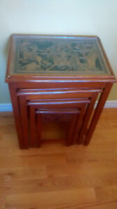 wood carved asian nesting tables