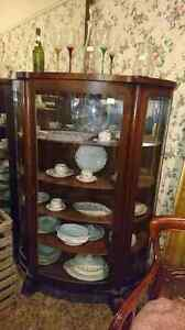 Bow front China cabinet with key. Mirror back  London Ontario image 1