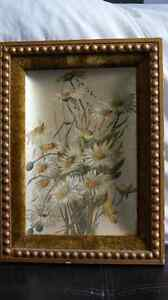 """Unique curved oil painting on tin """"Daisies"""""""