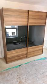 Wood and glass wardrobe