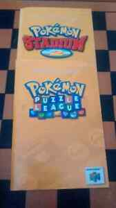 Pokemon stadium 2 and puzzle league manual only N64