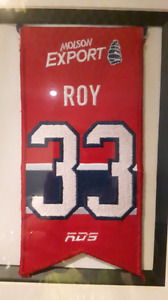Patrick Roy Montreal Canadiens Jersey Retirement Banner and pin