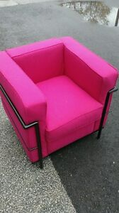 corbusier style fuschia chairs, other chairs, side tables etc