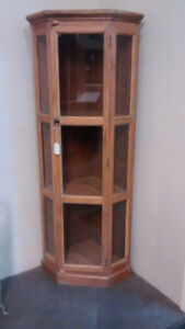 50% OFF Teak Wood Corner Display Cabinet & Bookcase