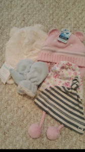 Baby winter hats, beanies and fleece mitts
