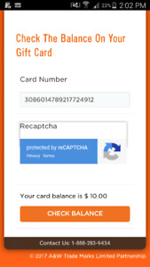 10 dollar gift card for a&w