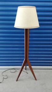 mid century vintage teak floor lamp $150