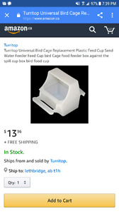 Turritop bird seed cup dish with perch and cover in white