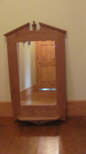Solid Oak Wall Accent Mirror