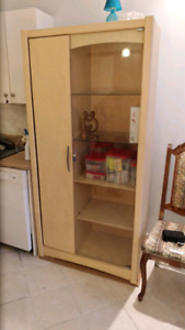 Wall cabinet with glass shelves storage display cabinet