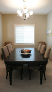 Solid wood dining table + chairs