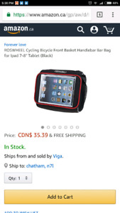 Bicycle Front Basket Handlebar Bag for tablet up to 8in