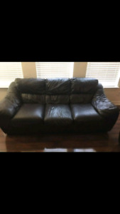 Black 100% leather couches 3 piece set 3,2,1 seaters