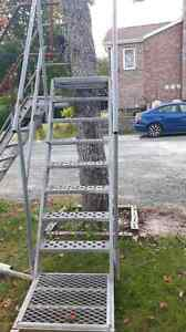 Galvanized stairs with rails