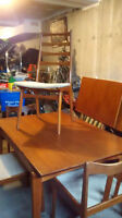 Vintage  Danish teak dining set table with four chairs