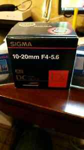 Sigma 10-20 F/4-5.6 for Canon + (2) Filters