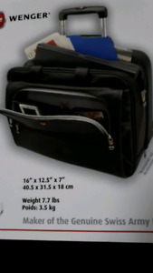 Wheeled leather briefcase