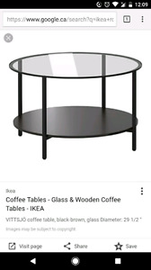 IKEA ROUND GLASS COFFEE TABLE, NEW!