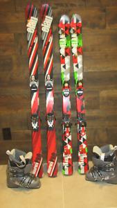 2 paires de skis alpins Élan junior et 1 paire de bottes Salomon