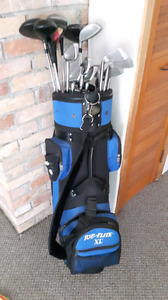 Golf clubs and Top Flight golf bag for sale
