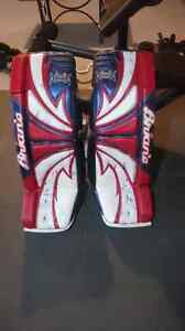 """Brian's Thief 35"""" Goalie Pads red, white and blue"""