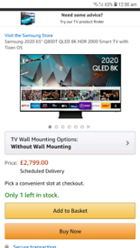 Samsung 65 Q800T qled 4k smart tv brand new boxed call 07550365232