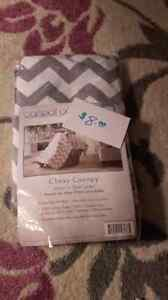 Carseat canopy, baby girl clothes, diaper bag