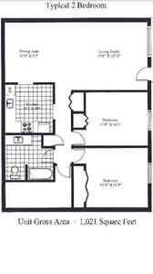 December Free - Over 1K Sqft 2BR All included