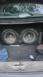"""2 12"""" subs in box with amp"""