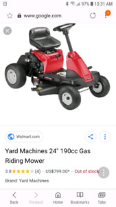"BNIB MTD 24"" Riding Lawn Mower"