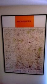 FRAMED ORDINENCE SURVEY MAP OF BUCKINGHAM AND AREA 1946