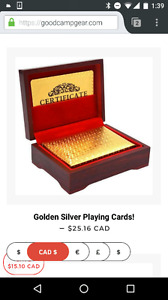Gold or silver poker playing cards. Cool gift or play poker