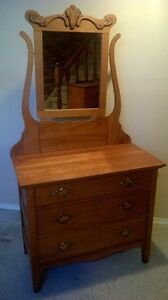 Beautiful Solid Maple Canadiana Dresser with Mirror