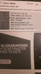 2 Neil Diamond tickets for June 2nd