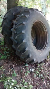 18.4 x 34   tires and rims, fit john deere, ford, allis chalmers