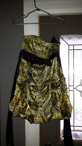 Black and yellow formal dress