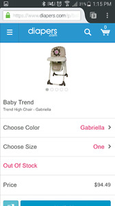 Baby Trend High Chair - Gabriella