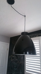 West Elm XL glossy black industrial pendent