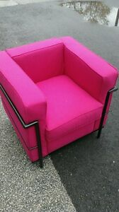 corbusier chairs, fuschia - mid century chairs, tables etc couch