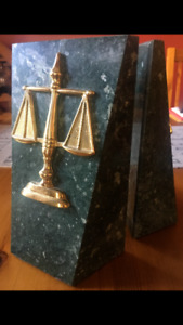 Heavy Marble 'Scales of Justice' Legal Bookends