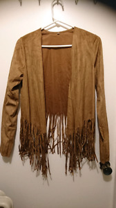BRAND NEW NEVER WORN FAUX SUEDE FRINGE JACKET