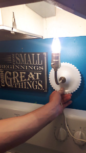 White glass wall sconce