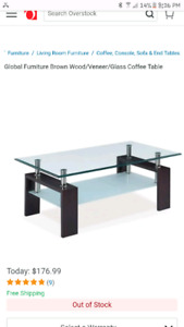 Glass/wooden coffee table