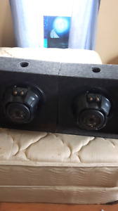 Two 12 inch kenwood subs in box with Kenwood  amp
