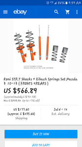 Mazda 3 suspension koni shocks and eibach springs